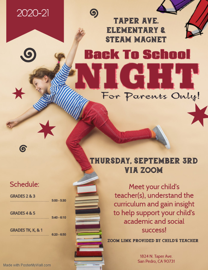 Back To School Night September 3rd 2020