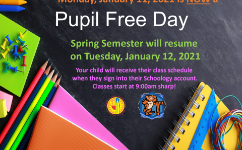 January 11th is now a pupil free day.