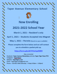 Now Enrolling at Taper Avenue