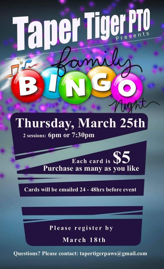 Virtual Family Bingo Night!!! March 25th